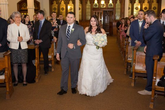 Bride and Dad coming down the aisle - CT Wedding Photography - CT Photo Group