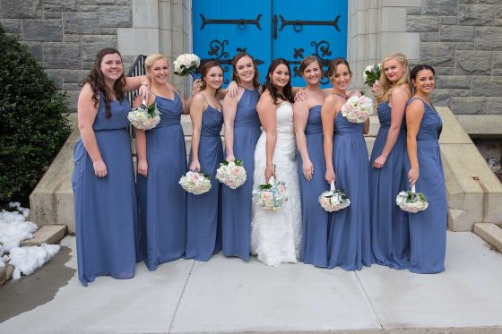 Bridesmaids outside church - CT Wedding Photography - CT Photo Group