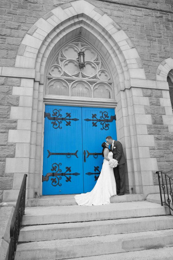 Bride and Groom outside Church - CT Photo Group
