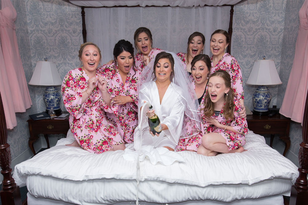 Bridesmaids with Champagne Bottle - CT Photo Group