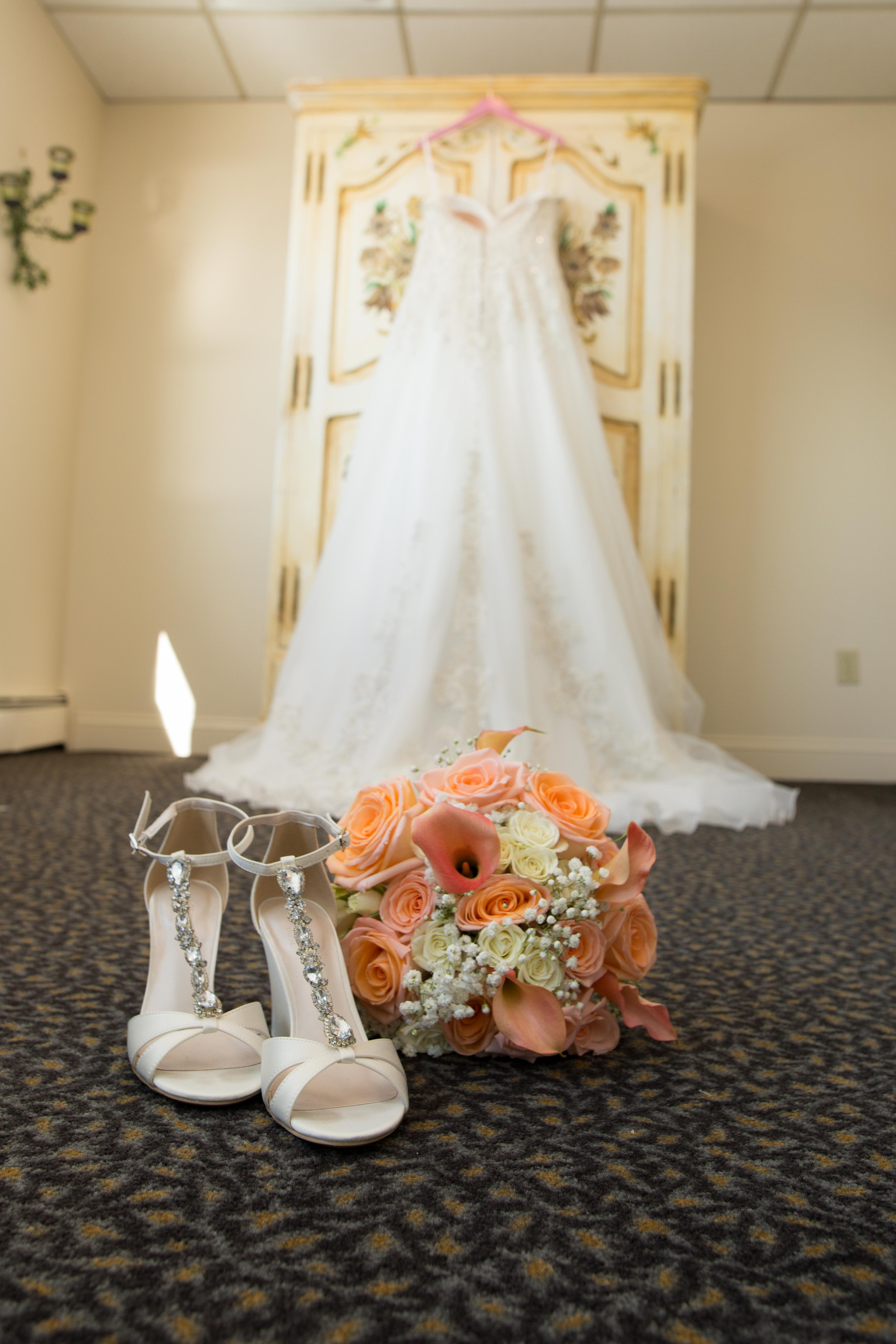 Wedding Dress with Shoes & Flowers - Amarante's Sea Cliff - CT Photo Group