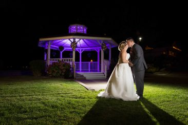 Bride & Groom Kissing at Gazebo Amarante's Sea Cliff - CT Photo Group