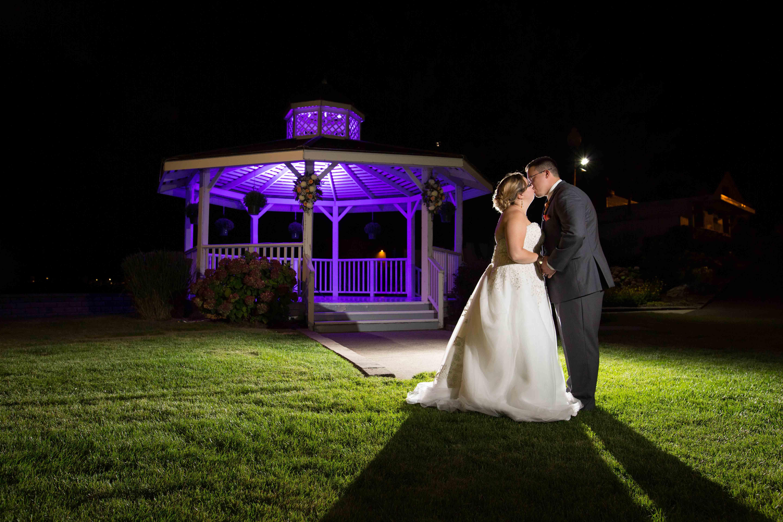 Bride & Groom Kissing at Gazebo Amarante's Sea Cliff - CT Photo Group